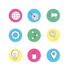 Set technology icons to company information vector