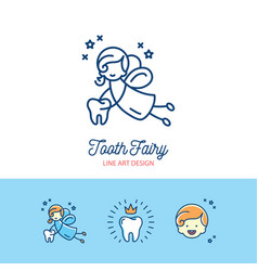 Tooth fairy logo childrens dentistry thin line art vector