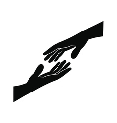 Two arms stretching towards each other icon vector