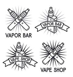 Vape shop and bar logos vector image vector image