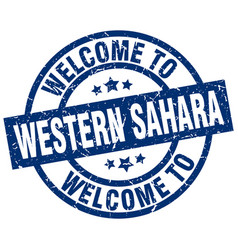 Welcome to western sahara blue stamp vector