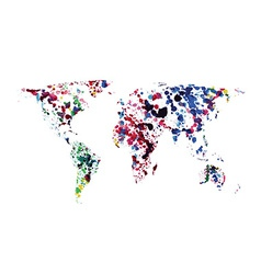 World map of watercolor blots vector
