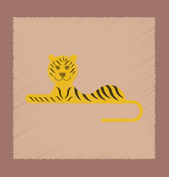 Flat shading style icon cartoon tiger vector