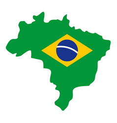 Brazil flag on brazilian map icon isolated vector