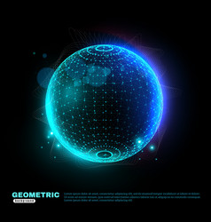 geometric glowing sphere background poster vector image