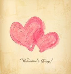 Watercolor red hearts on old paperHoliday vector image
