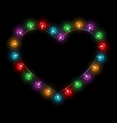 Multicolored glassy lights like heart frame vector