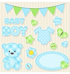 Scrapbook elements for boy vector