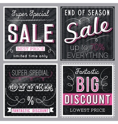 Black banners with sale offer vector