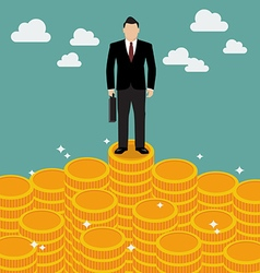 Businessman standing on money vector