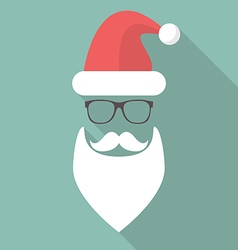 Hat beard mustache and glasses of santa vector