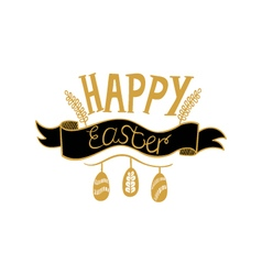 Golden happy easter lettering on white background vector