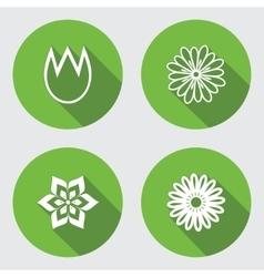 Flower 4 icons set chamomile tulip daisy vector