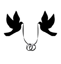 Doves with wedding rings vector