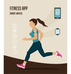 Fitness icons for tracker and running vector