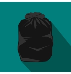 Black trash bag icon flat style vector