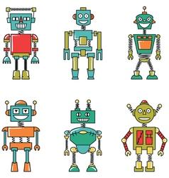Retro colorful smart robots set vector image