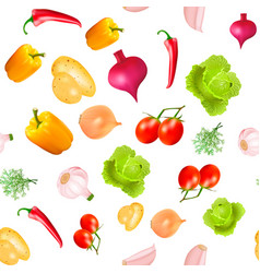Background seamless vegetarian with vegetables vector