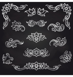 Baroque engraving leaf scroll design vector image