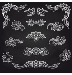 Baroque engraving leaf scroll design vector