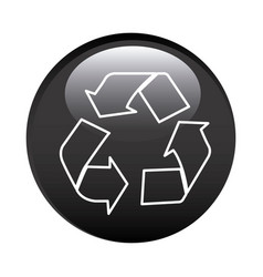 Black circular frame with recycling symbol vector