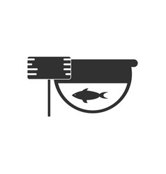 Black icon on white background fish in an aquarium vector