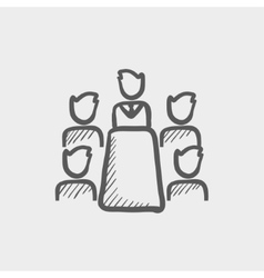 Business meeting in office sketch icon vector