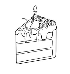 Cake with candle coloring book vector