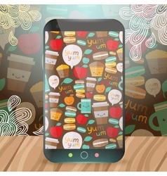 Cute food pattern on smart phone vector image