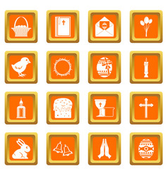 easter items icons set orange vector image