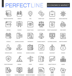 Economics market thin line web icons set outline vector