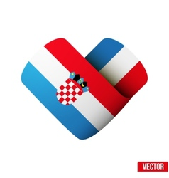 Flag icon in the form of heart i love croatia vector