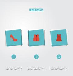 Flat icons waistcoat heeled shoe evening dress vector