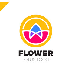 flower lotus logo circle cosmetic or spa vector image