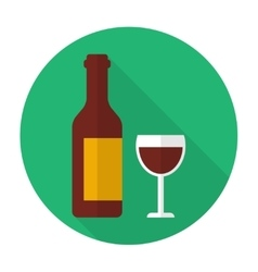 Glass and bottle of wine vector image