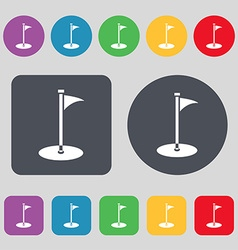 Golf icon sign a set of 12 colored buttons flat vector