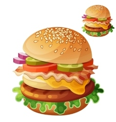 Hamburger food icon isolated on white vector