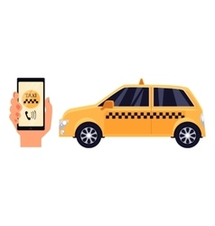 Hand holding phone with a taxi service app vector