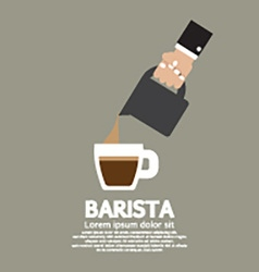 Hand with coffee pouring jug barista concept vector