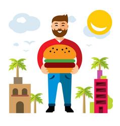 happy hipster man with hamburger flat vector image vector image