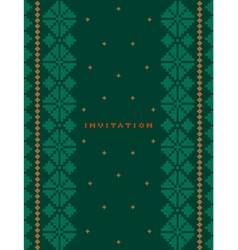 Invitation greeting card on dark green background vector