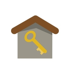 Isolated key inside house design vector