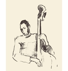 Jazz poster double bass music acoustic consept vector image