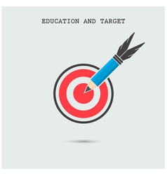 Pencil with target symbol on background vector image