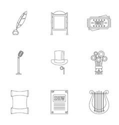 Performance icons set outline style vector