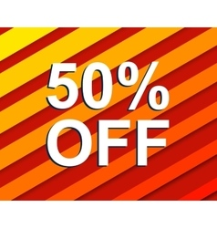 Red striped sale poster with 50 percent off text vector