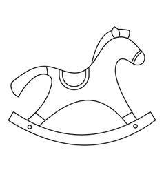 Rocking horse toy icon outline style vector