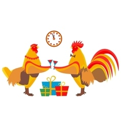 Rooster drinking champagne vector