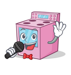 Singing gas stove character cartoon vector