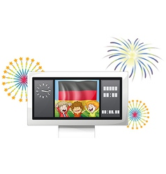The flag of Germany inside a scoreboard with three vector image
